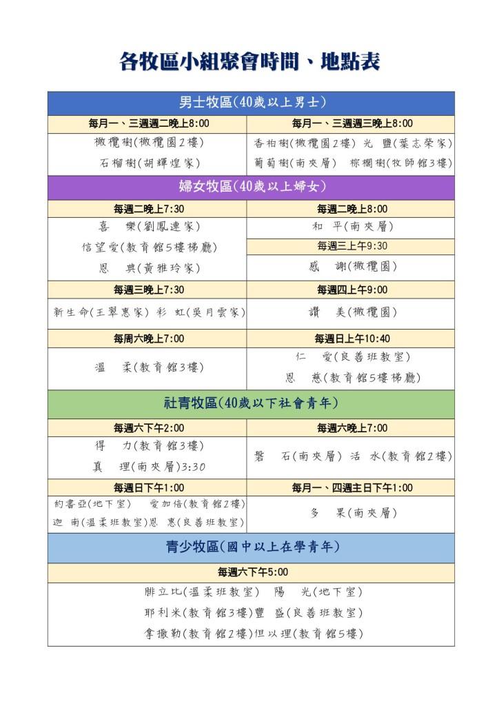 2018小組聚會時間地點表